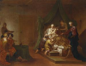 Jacob zegent Efraïm en Manasse, de zonen van Jozef, met gekruiste armen  (Genesis 48: 1-22)