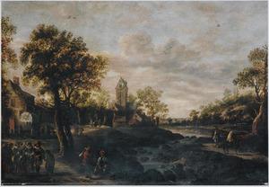 Landschap met wandelaars en zigeuners bij een dorp