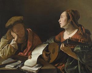 Lezende jonge man en luit spelende jonge vrouw