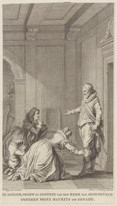 Moeder, vrouw en zoontje van Reinier van Oldenbarnevelt smeken prins Maurits om genade (1623)