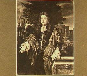 Portret van een man, mogelijk zelfportret van Gerard Hoet I (1648-1733), links in de achtergrond de 'Hercules Farnese'