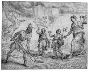 Allegorie: God verschaft de harde werker voedsel en kleding