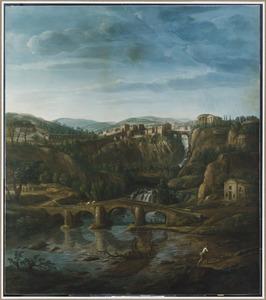Gezicht op de Val d'Aniene en Tivoli met de tempel van Vesta en de Ponte di San Martino in de verte