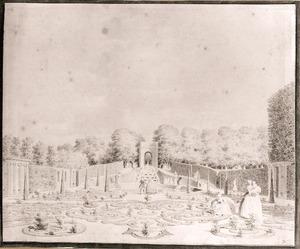 De parterre achter het huis Zorgvliet, gezien naar de grot en de cascade