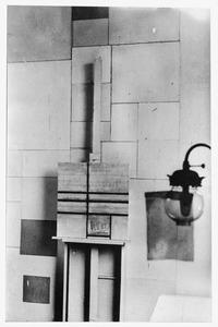 Het atelier van Piet Mondriaan met Composition with Double line (unfinished) (B247), 1934