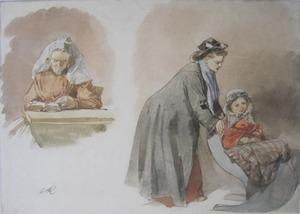 Studieblad met oude vrouw in streekdracht en jonge vrouw met kind in slee
