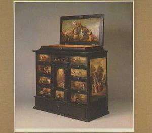 Kunstkastje beschilderd met mythologische taferelen