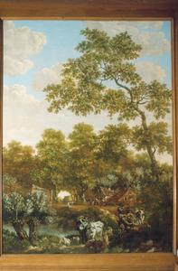 Boslandschap met bospad, boerderij en kudde