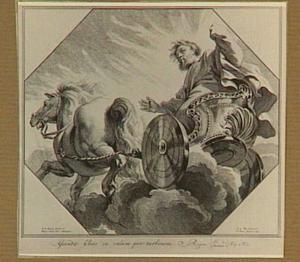 De profeet Elia wordt ten hemel opgenomen door een strijdwagen met paarden van vuur in een wervelwind. Zijn mantel valt naar beneden, waar Elisa hem opraapt (2 Koningen 2:11-13