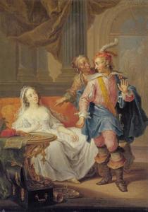 Een jongeman wordt door een oude koppelaarster voorgesteld aan een jonge prostituée