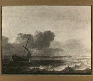 Kleine zeilboot voor de kust