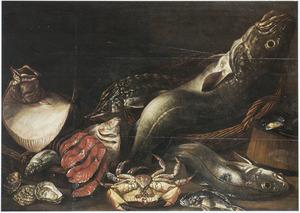 Stilleven van zeevis, oesters en een en krab