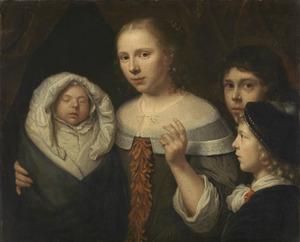 Portret van een jonge vrouw en drie kinderen