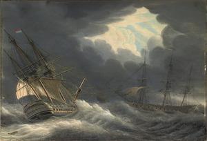 Driemasters op woelige zee