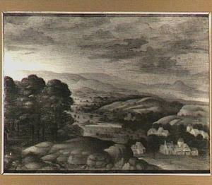 Heuvellandschap met enkele boerderijen