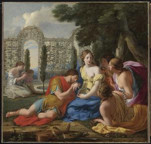 Polyphilus en Polia vergezeld door nimfen op het eiland Cythera