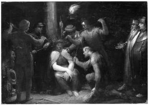 De doornenkroning en bespotting van Christus (Mattheus 27:29)