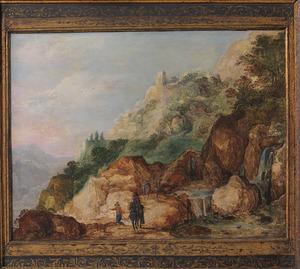 Berglandschap met ruiter en reizigers op een bergpad