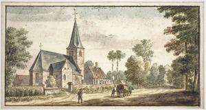 Hoevelaken, gezicht in het dorp met de kerk