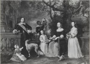 Portret van een onbekend echtpaar met hun drie kindereren en een bediende