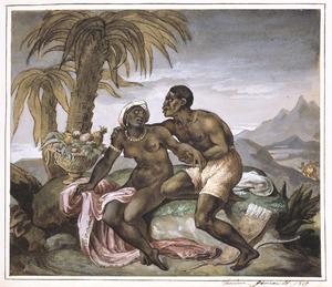 Een zwarte vrouw en man als minnaars in een tropisch landschap
