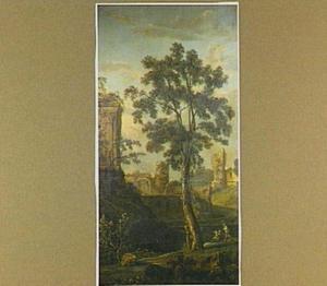 Italiaans landschap met ruines en grote boom
