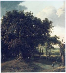 Boslandschap met een struikrover en twee wegvluchtende figuren