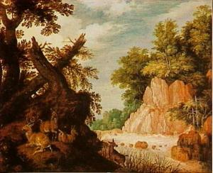 Boslandschap met waterval en herten