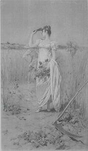 Jonge dame op het land met een bos wilde bloemen