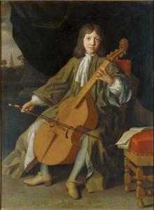 Sir John Langham Bt., als jongen van 12  jaar spelend op de viola da gamba