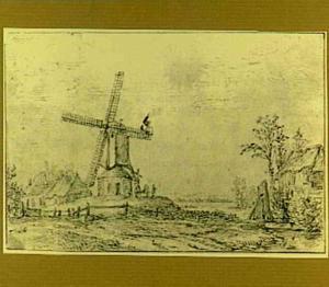 Landschap met molen en boerderijen