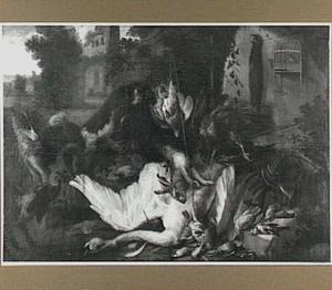 Drie honden bij jachtbuit van zwaan, haas en zangvogels; rechts aan de muur een opgehangen marter en een vogelkooi