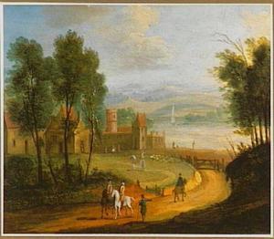 Ruiters op een weg met op de achtergrond een kasteel aan een rivier