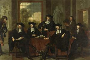 Portret van de  inspecteurs van het Collegium Medicum, Amsterdam, 1683