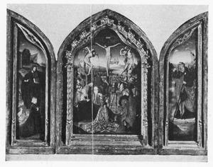 Drieluik met de H. Johannes de Doper en een stichter (links), de kruisiging (midden), de H. Jacobus de Meerdere (rechts)