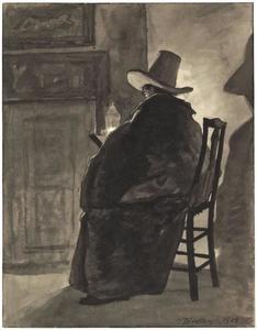 Zittende man met hoed en mantel lezend bij een olielampje