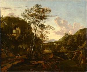 Zuidelijk landschap met rivierdal bij laag zonlicht