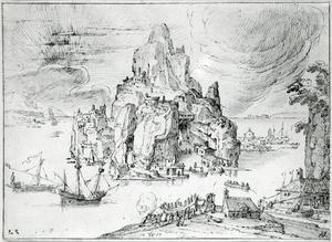 Fantasielandschap met een rotsachtig eiland en een scheepswerf