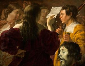 De vrouwen van Israel halen David in met zang en dans na zijn overwinning op Goliath  (1 Samuel 17:54)