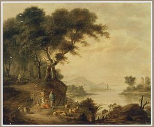 Landschap met rustende herders bij een bos