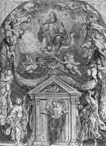 De H. Maagd en het Kind in een nis, beschermd door de andere leden van de Drievuldigheid