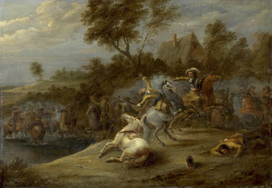 Landschap met een gevecht tussen soldaten