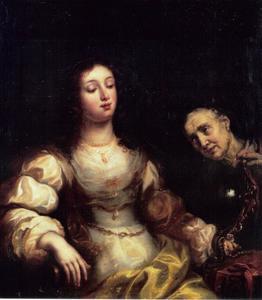 Een oude vrouw en een jonge vrouw: allegorie op de Vergankelijkheid