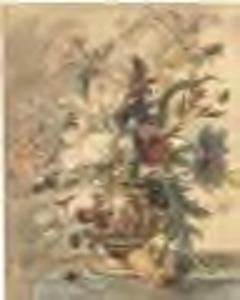 Bloemstilleven in een terracotta vaas op een marmeren blad met links een slak