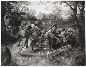 Vechtende boeren bij het kaartspel