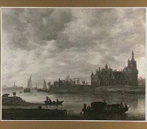 Gezicht over de Nederrijn op kasteel Duurstede