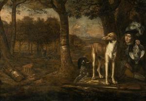 Jager met honden en dode hazelhoen in een landschap