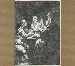 Een Oosterling en twee mannen zittend aan een tafel