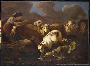 Herders met vee bij een drenkplaats in een landschap met dreigende wolkenlucht