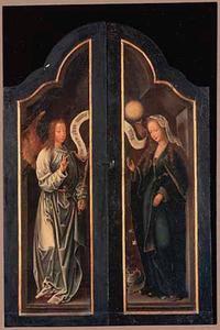 De annunciatie: Gabriel (links), Maria (rechts)
